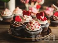 Рецепта Шоколадови къпкейкове за Свети Валентин с маслена глазура